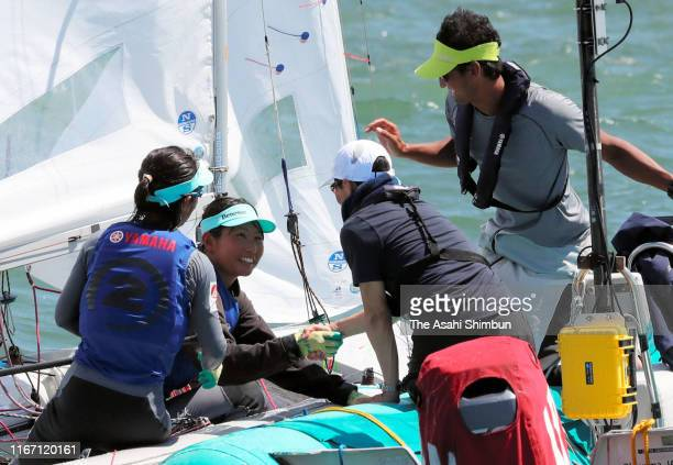 Ai Yoshida and Miho Yoshioka of Japan are congratulated on winning the silver medal in the Women's event on day eight of the 470 World Championships...