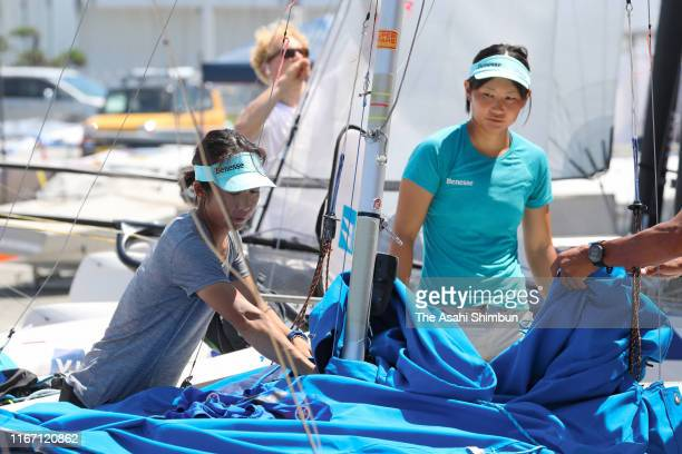 Ai Yoshida and Miho Yoshioka of Japan are seen prior to the Women's event on day eight of the 470 World Championships at Enoshima Yacht Harbour on...