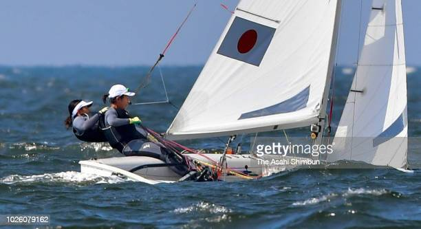 Ai Yoshida and Miho Yoshioka of Japan compete in the Sailing Women's 470 on August 31 2018 in Jakarta Indonesia