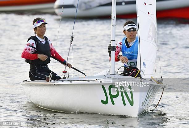 Ai Yoshida and Miho Yoshioka of Japan prepare to compete in the women's 470 sailing event at the Rio de Janeiro Olympics on Aug 14 2016