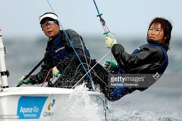 Ai Yoshida and Miho Yoshioka of Japan sail on the Copacobana course during the Women's 470 Class as part of the Aquece Rio International Sailing...