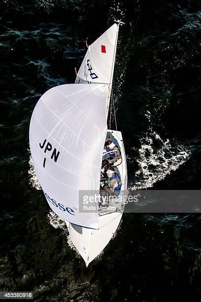 Ai Yoshida and Miho Yoshioka of Japan sail on the Escola Naval course during the 470 Women Class as part of the Aquece Rio International Sailing...
