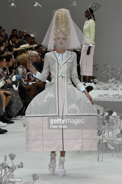 Aia Busk walks the runway during the Thom Browne Womenswear Spring/Summer 2020 show as part of Paris Fashion Week on September 29, 2019 in Paris,...
