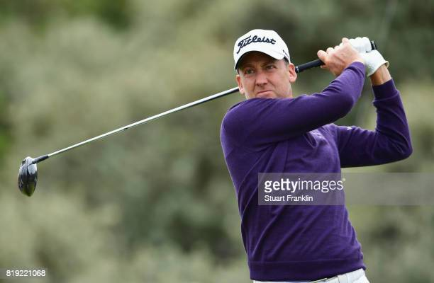 AIan Poulter of England hits his tee shot on the 2nd hole during the first round of the 146th Open Championship at Royal Birkdale on July 20 2017 in...
