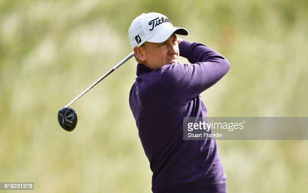 AIan Poulter of England hits his tee shot on the 6th hole during the first round of the 146th Open Championship at Royal Birkdale on July 20 2017 in...