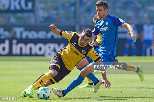 Aias Aosman of Dresden and Anthony Losilla of Bochum battle for the ball during the Second Bundesliga match between VfL Bochum 1848 and SG Dynamo...
