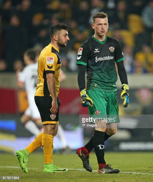 Aias Aosman of Dresden and Goalkeeper Markus Schubert of Dresden look dejected during the Second Bundesliga match between SG Dynamo Dresden and FC St...