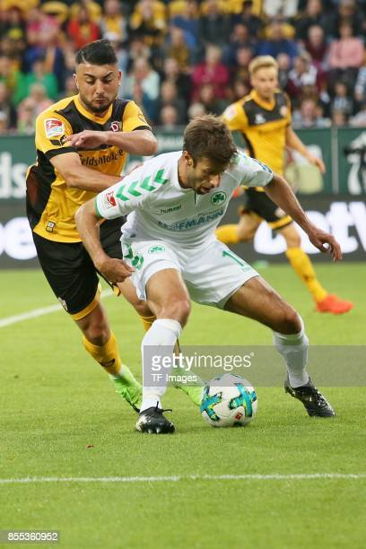 Aias Aosman of Dresden and Marco Caligiuri of Fuerth battle for the ball during the Second Bundesliga match between Dynamo Dresden and SpVgg Greuther...