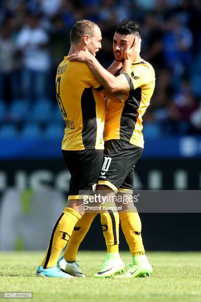 Aias Aosman of Dresden celebrates the second goal with Rico Benatelli of Dresden during the Second Bundesliga match between VfL Bochum 1848 and SG...