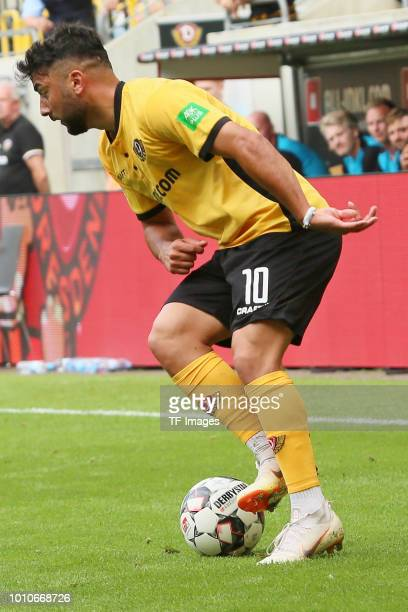 Aias Aosman of Dresden controls the ball during the preseason friendly match between Dynamo Dresden and Aston Villa on July 28 2018 in Dresden Germany