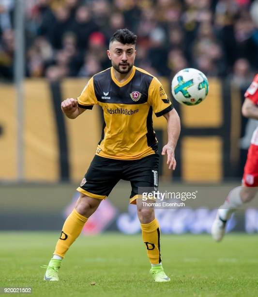 Aias Aosman of Dresden plays the ball during the Second Bundesliga match between SG Dynamo Dresden and SSV Jahn Regensburg at DDVStadion on February...