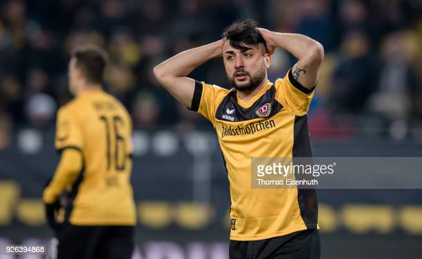 Aias Aosman of Dresden reacts during the Second Bundesliga match between SG Dynamo Dresden and SV Darmstadt 98 at DDVStadion on March 2 2018 in...