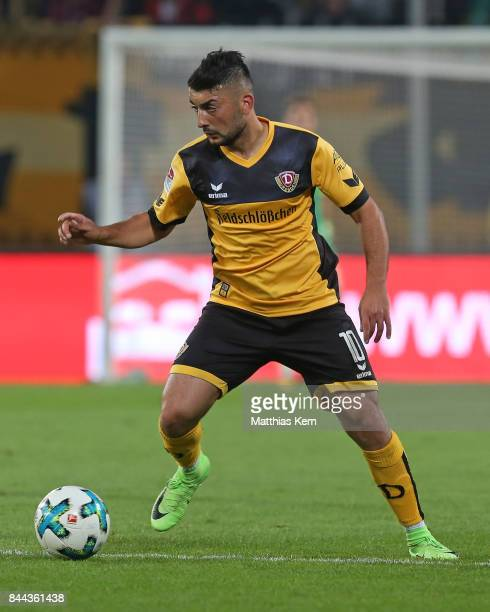 Aias Aosman of Dresden runs with the ball during the Second Bundesliga match between SG Dynamo Dresden and SpVgg Greuther Fuerth at DDVStadion on...