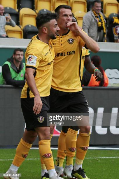 Aias Aosman of Dynamo Dresden and Philip Heise of Dynamo Dresden celebrate a goal during the Second Bundesliga match between SG Dynamo Dresden and SV...