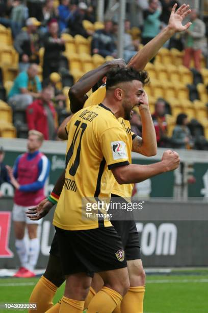 Aias Aosman of Dynamo Dresden celebrates a goal during the Second Bundesliga match between SG Dynamo Dresden and SV Darmstadt 98 at DDVStadion on...