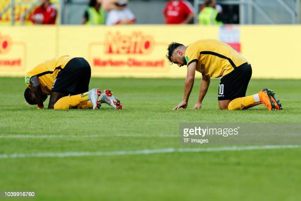 Aias Aosman of Dynamo Dresden celebrates after scoring his team`s first goal with Moussa Kone of Dynamo Dresden during the Second Bundesliga match...