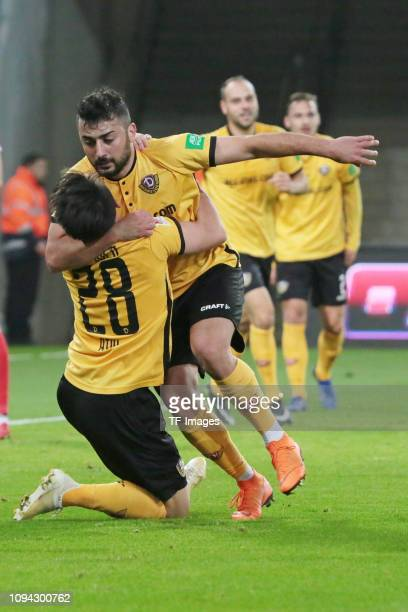 Aias Aosman of Dynamo Dresden celebrates after scoring his team's second goal with Baris Atik of Dynamo Dresden during the Second Bundesliga match...