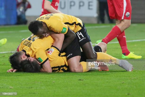 Aias Aosman of Dynamo Dresden celebrates after scoring his team's second goal with team mates during the Second Bundesliga match between Dynamo...