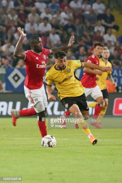 Aias Aosman of Dynamo Dresden controls the ball during the Second Bundesliga match between SG Dynamo Dresden and Hamburger SV at DDVStadion on...
