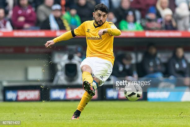 Aias Aosman of Dynamo Dresden in action during the Second Bandesliga match between TSV 1860 Muenchen and Dynamo Dresden at Allianz Arena on December...