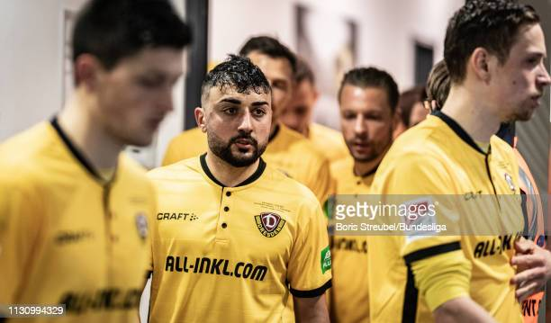 Aias Aosman of Dynamo Dresden looks on in the players tunnel during the Second Bundesliga match between SG Dynamo Dresden and 1 FC Magdeburg at...