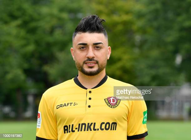 Aias Aosman of Dynamo Dresden poses during the team presentation at on July 6 2018 in Dresden Germany