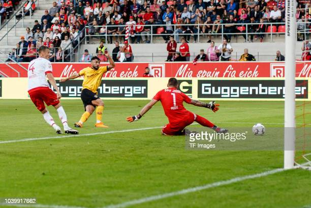 Aias Aosman of Dynamo Dresden scores the team`s first goal during the Second Bundesliga match between SSV Jahn Regensburg and SG Dynamo Dresden on...