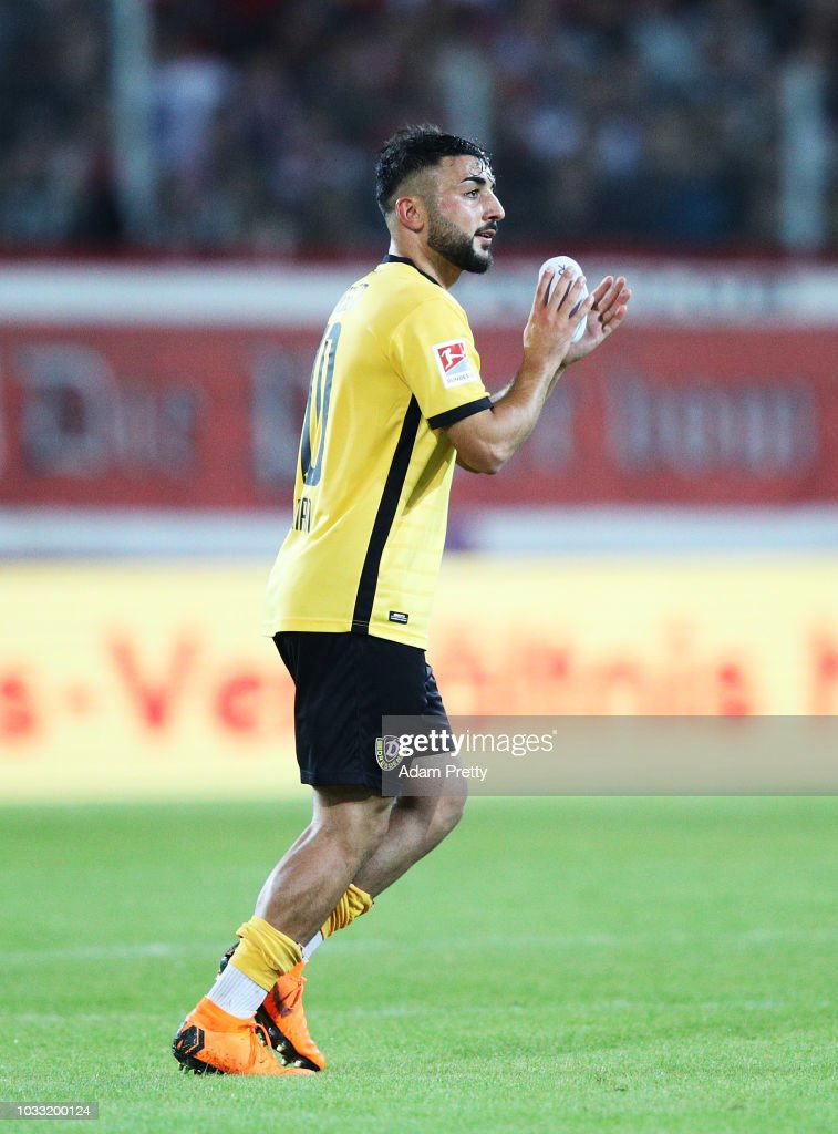 Aias Aosman of Dynamo Dresden thanks the fans during the Second Bundesliga match between SSV Jahn Regensburg and SG Dynamo Dresden at Continental Arena on September 14, 2018 in Regensburg, Germany.