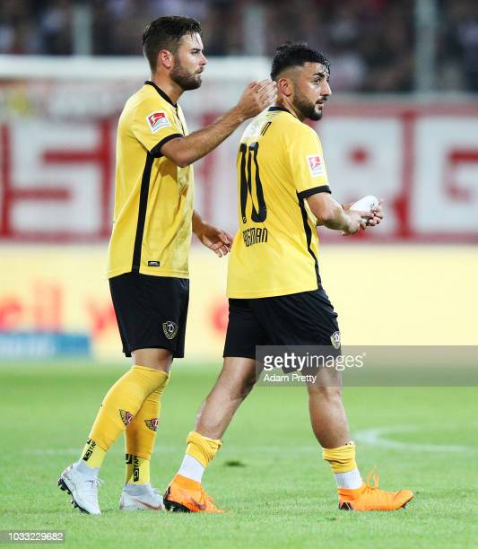 Aias Aosman of Dynamo Dresden thanks the fans during the Second Bundesliga match between SSV Jahn Regensburg and SG Dynamo Dresden at Continental...