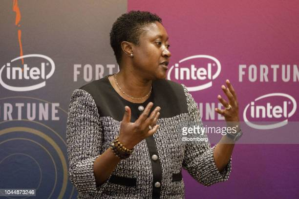 Aicha Evans senior vice president and chief strategy officer of Intel Corp speaks during the Fortune's Most Powerful Women conference in Dana Point...