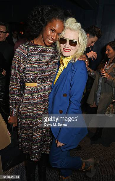 Aicha Mckenzie and Pam Hogg attend a drinks reception hosted by Dame Vivienne Westwood and The British Fashion Council to celebrate London Fashion...