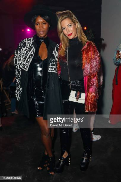 Aicha Mckenzie andLaura Pradelska attend the Gareth Pugh after show party during London Fashion Week September 2018 at Selfridges on September 15...