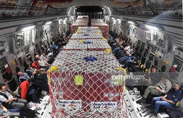 Aid is seen onboard an Australian RAAF C17 Globemaster in transit on March 16 2015 to Port Vila Vanuatu Cyclone Pam has hit South Pacific islands on...