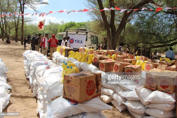 Aid sacks and other materials by Turkish Cooperation and Coordination Agency are seen in Turkana Kenya on April 29 2017 Turkey's aid agency...