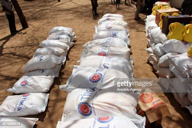 Aid sacks by Turkish Cooperation and Coordination Agency are seen in Turkana Kenya on April 29 2017 Turkey's aid agency distributed vital foodstuffs...