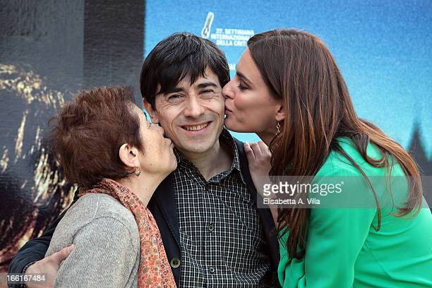 Aida Burruano Luigi Lo Cascio and Catrinel Marlon attend La Citta Ideale photocall at Casa del Cinema on April 9 2013 in Rome Italy