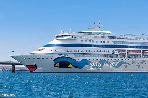 Aida cara cruise ship lying at pier in Patagonia Argentina