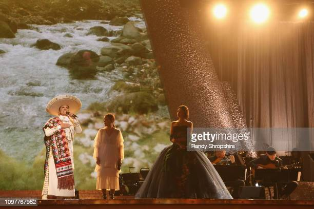 Aida Cuevas Natalia Lafourcade and Ángela Aguilar perform onstage at the 61st Annual GRAMMY Awards Premiere Ceremony at Microsoft Theater on February...