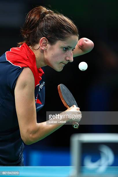 Aida Dahlen of Norway competes in the women's singles Table Tennis Class 8 on day 2 of the Rio 2016 Paralympic Games at Riocentro Pavilion 3 on...