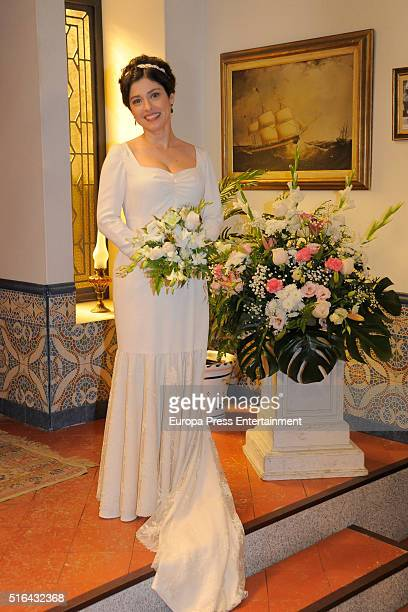 Aida de la Cruz is seen during 'El Secreto de Puente Viejo' set filming on January 14 2016 in Madrid Spain