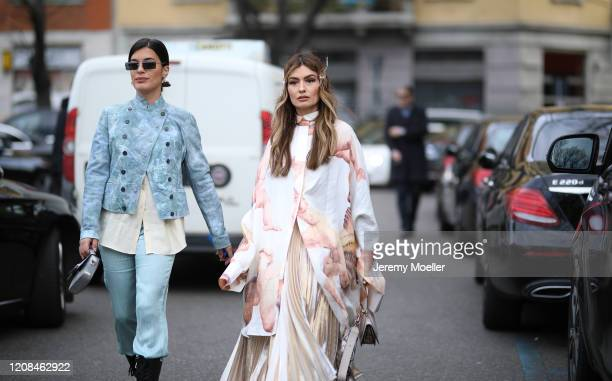 Aida Domenech and Angela Rozas Saiz are seen before Emporio Armani during Milan Fashion Week Fall/Winter 20202021 on February 21 2020 in Milan Italy