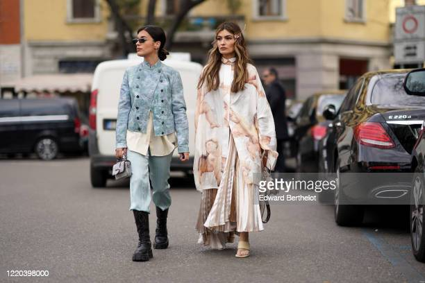 Aida Domenech and Angela Rozas Saiz are seen, outside Tod's, during Milan Fashion Week Fall/Winter 2020-2021 on February 21, 2020 in Milan, Italy.