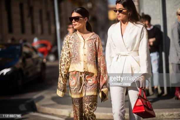 Aida Domenech and Marta Lozano is seen outside Etro on Day 3 Milan Fashion Week Autumn/Winter 2019/20 on February 22 2019 in Milan Italy