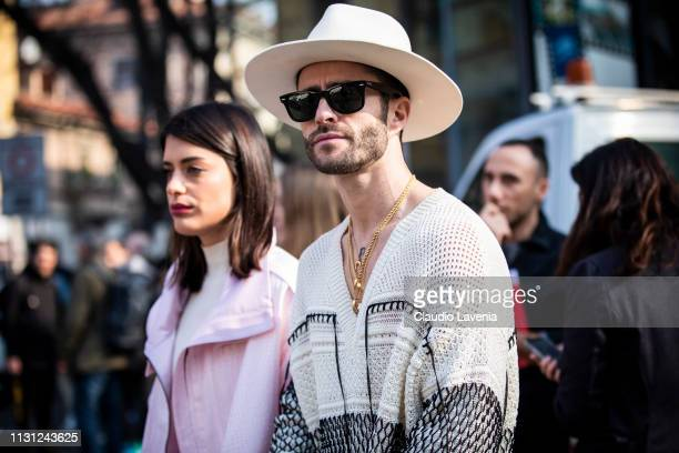 Aida Domenech and Pelayo Diaz are seen outside Emporio Armani on Day 2 Milan Fashion Week Autumn/Winter 2019/20 on February 21 2019 in Milan Italy