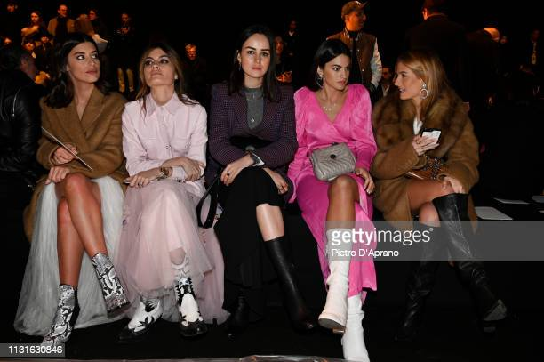 Aida Domenech Angela Rozas Saiz guest Marta Lozano and Teresa Andrès Gonzalvo attend the Ermanno Scervino show at Milan Fashion Week Autumn/Winter...