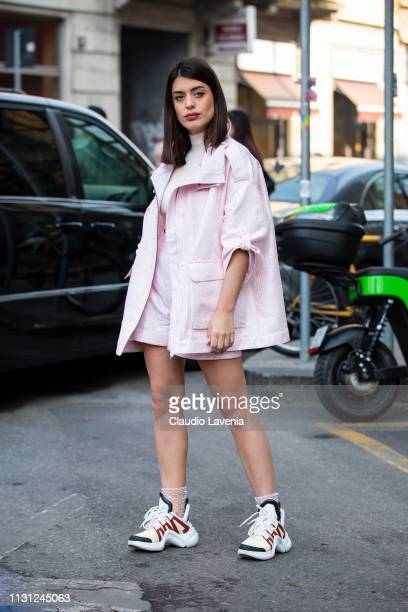 Aida Domenech is seen outside Emporio Armani on Day 2 Milan Fashion Week Autumn/Winter 2019/20 on February 21 2019 in Milan Italy