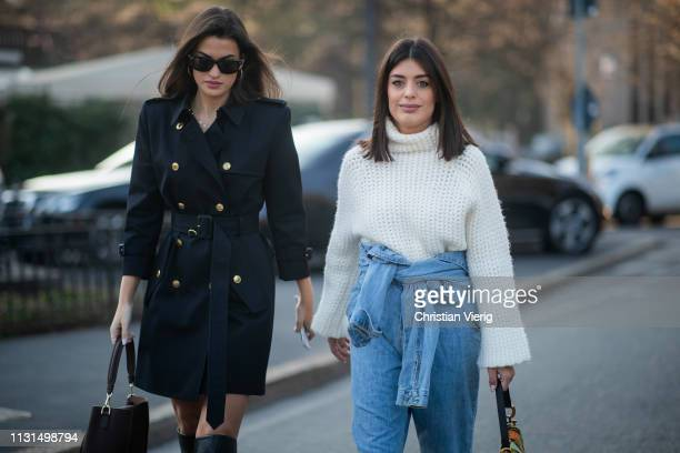 Aida Domenech is seen wearing denim jeans white knit outside Tods on Day 3 Milan Fashion Week Autumn/Winter 2019/20 on February 22 2019 in Milan Italy