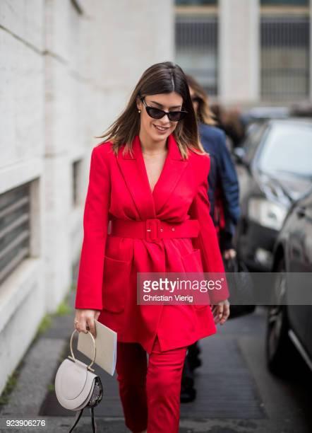 Aida Domenech seen outside Salvatore Ferragamo during Milan Fashion Week Fall/Winter 2018/19 on February 24 2018 in Milan Italy