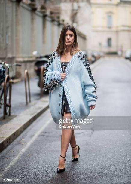 Aida Domenech seen outside Sportmax during Milan Fashion Week Fall/Winter 2018/19 on February 23 2018 in Milan Italy
