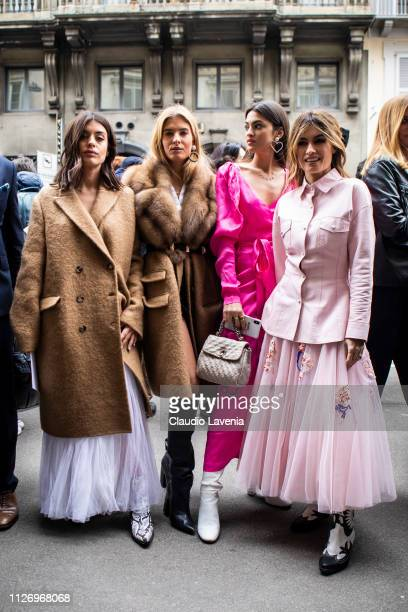 Aida Domenech Teresa Andrès Gonzalvo Marta Lozano and Angela Rozas Saiz attend the Ermanno Scervino show at Milan Fashion Week Autumn/Winter 2019/20...